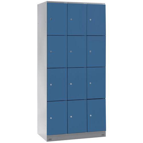 Spind Collectivité mit 12 Fächern – 3 Säulen, Breite 300 mm – auf Sockel