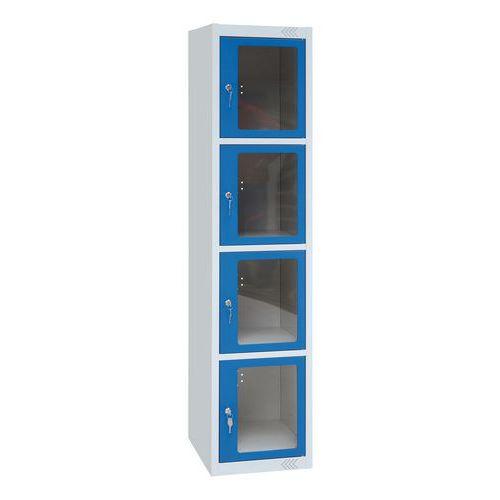Spind mit transparenten Türen – 4 Fächer – 1 Säule, Breite 400mm – mit Sockel - Manutan