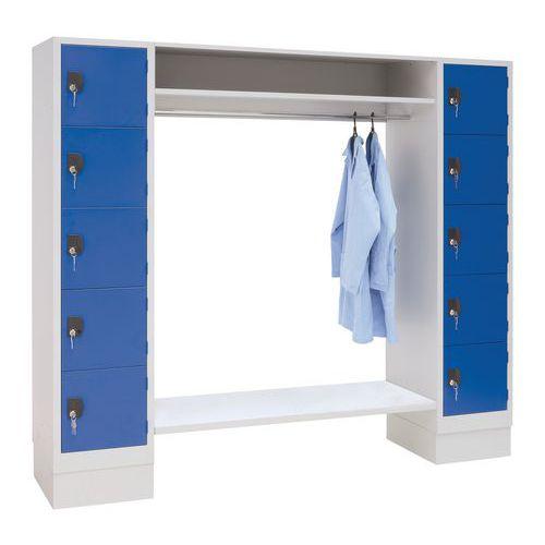 Spind mit 10 Fächern und Kleiderabteil – Breite des Kleiderabteils 1350 mm - Manutan