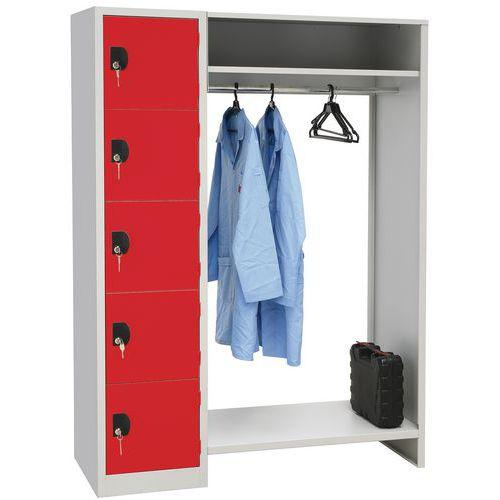 Spind mit mehreren Fächern und offener Garderobe Modulo- 1 bis 2Säulen- auf Sockel- Manutan