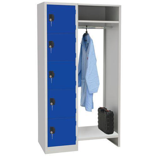 Spind mit 5 Fächern und Kleiderabteil – Breite des Kleiderabteils 450mm - Manutan