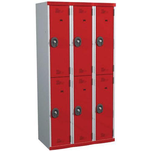 Spind Seamline Optimum® mit 6 Hängefächern – 3 Säulen, Breite 300mm - mit Sockel