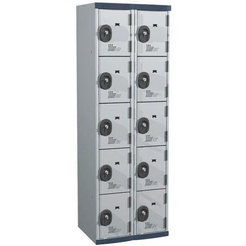 Spind Seamline Optimum® mit 10Fächern- 2Säulen, Breite 300mm- auf Sockel- Acial