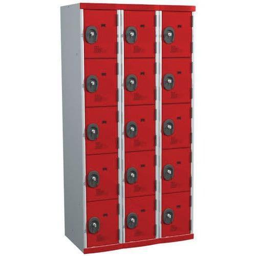 Spind Seamline Optimum® mit 15 Fächern – 3 Säulen, Breite 300mm - mit Sockel