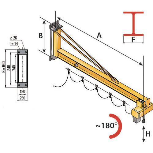 Wandkran - Tragkraft 1000 kg