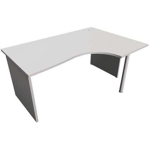 Kompakter Schreibtisch - Untergestell mit Wangen - Grau - Manutan