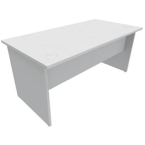 Gerader Schreibtisch - Füße mit Platte - Grau - Manutan