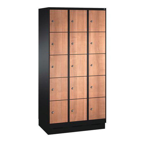 Holzspind Évolo I mit 10 bis 20 Fächern – 2 bis 4 Säulen, Breite 300mm