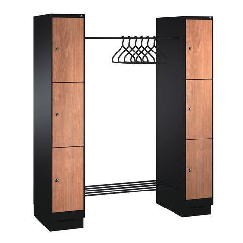 Spind mit 6 bis 10 Fächern und Kleiderabteil – Breite des Kleiderabteils 1150mm