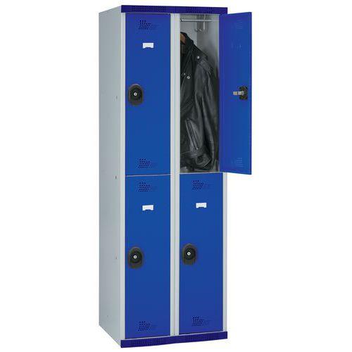 Spind Seamline Optimum® mit 4 Hängefächern- 2Säulen, Breite 300mm- auf Sockel- Acial