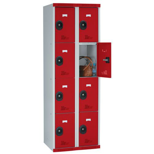 Spind Seamline Optimum® mit 8 Fächern – 2 Säulen, Breite 300mm - mit Sockel