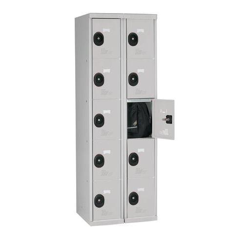 Spind Seamline Optimum® mit 10 Fächern – 2 Säulen, Breite 300mm - mit Sockel