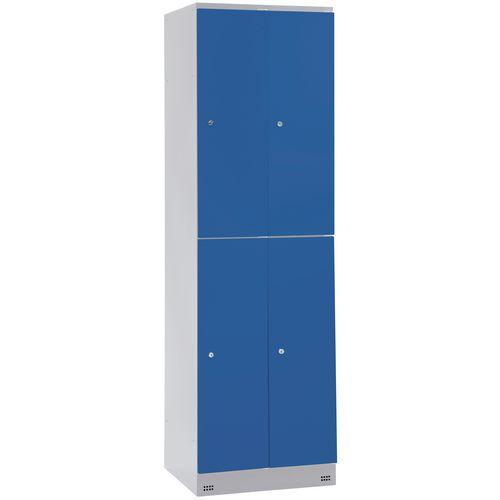 Spind Collectivité mit 4 Fächern und Kleiderabteil – 2 Säulen, Breite 400 mm – auf Sockel