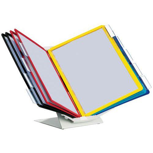 Schreibtisch- oder Wandhalter Vario Pro- 10verschiedenfarbige Sichttafeln A4