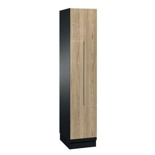Spind mit Holztüren in L-Form – 2 bis 6 Fächer, Breite 200 mm – auf Sockel