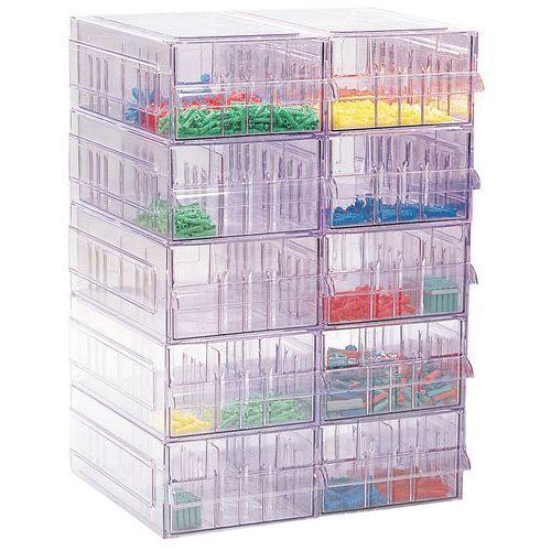Schubladenmagazin aus transparentem Polystyrol