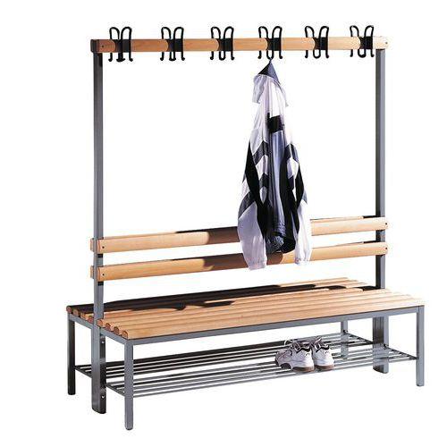 Garderobenbank CP aus Holz – 8 bis 16 Kleiderhaken – zweiseitig – mit Schuhablage