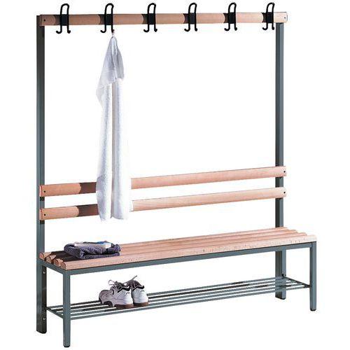 Garderobenbank CP aus Holz - 4 bis 8 Kleiderhaken – einseitig – mit Schuhablage