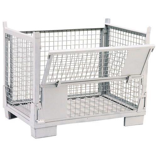 Klappbare Palettenbox - Gitterboden - mit Klemmbrett