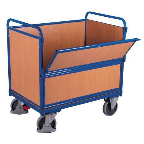 Ergonomischer Holzwagen ohne Deckel- 1 Wand halb einklappbar-500kg