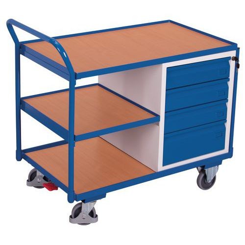 Ergonomischer Wagen mit 3Holzplatten und Schubladenblock- Tragkraft 250kg