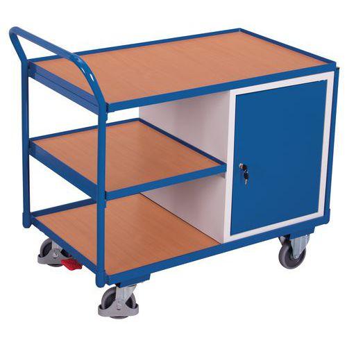 Ergonomischer Wagen mit 3 Holzplatten und Schubladenblock- Tragkraft 250kg