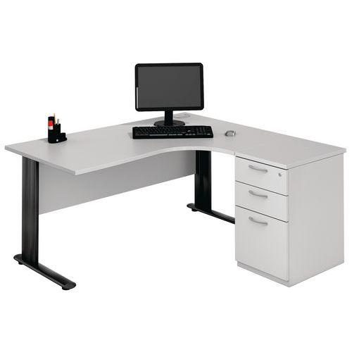 Kompakter Schreibtisch mit Schubladencontainer - Hellgrau/Anthrazit - Manutan