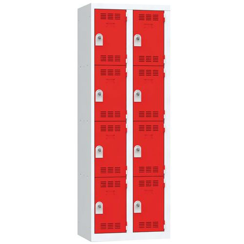 Spind mit mehreren Fächern- 2Säulen- 4Fächer- Breite 300mm