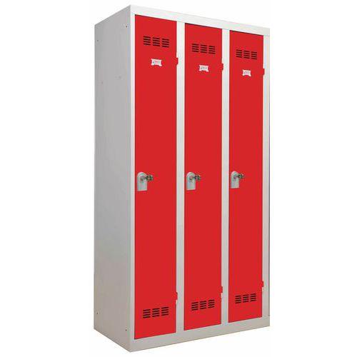 Einteiliger Spind für saubere Industriebereiche- 3Säulen- Breite 300mm - Vinco