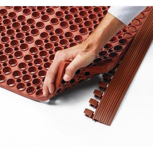 Sicherheitseinfassung für modularen Gitterrost als Matte
