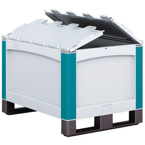 Palettenbox SL86 - geschlossene Wände - auf Kufen - Klappdeckel 2-kant