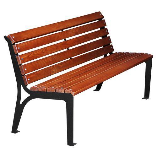 Holzbank für den Außenbereich, fixierbar mit Rückenlehne