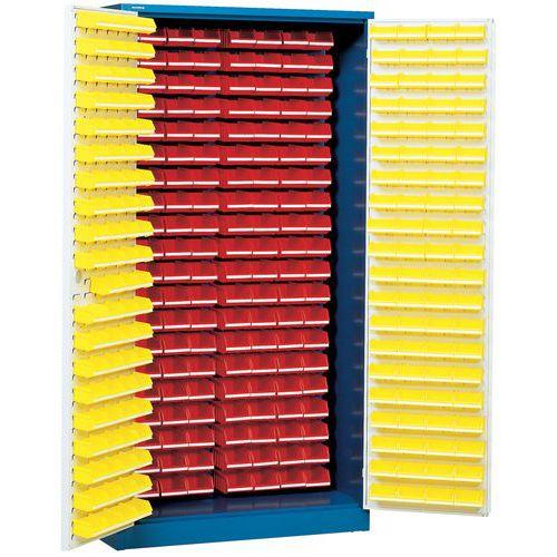 Schrank mit 320 Sichtlagerkästen Overtoom - Hoch - Mit ausgestatteten Türen