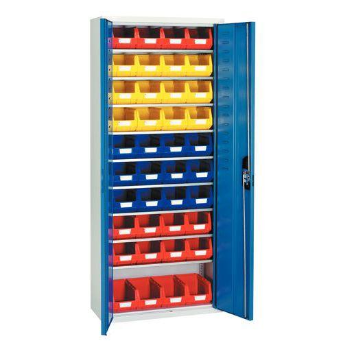 Halbhoher Standardschrank mit Sichtlagerkästen - Einfache glatte Türen