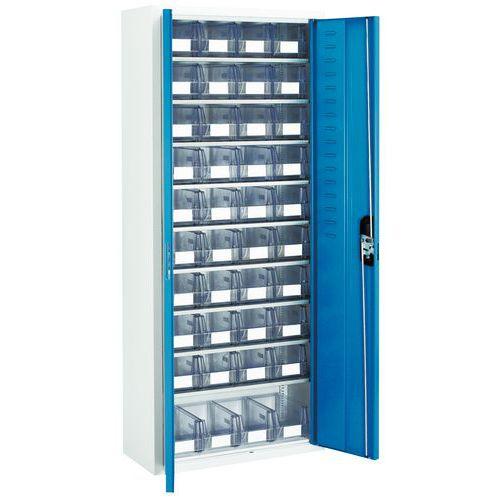 Schrank mit transparenten Lagerkästen - Mittel - Mit Türen
