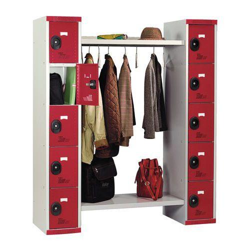 Spind mit 10 Fächern und Kleiderabteil – Breite des Kleiderabteils 960 mm