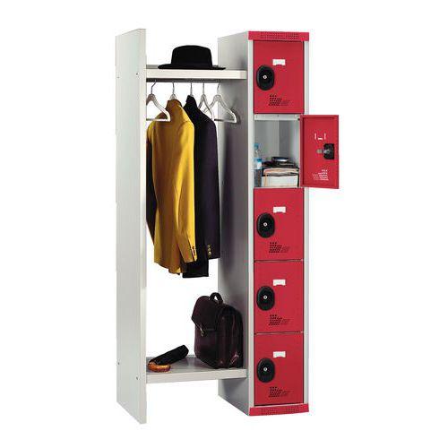 Spind mit 5 Fächern und Kleiderabteil – Breite des Kleiderabteils 520mm