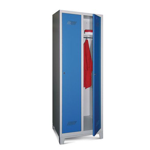 Einteiliger Spind Medium 300 - Auf Füßen - Industrie, Bereich ohne Schmutzbelastung - Abschließbar - 2 Säulen