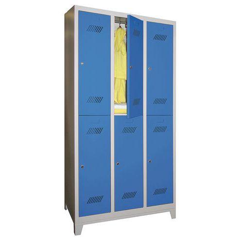 Spind Medium mit 6 Fächern und Kleiderabteil - 3 Säulen, Breite 300mm - auf Füßen