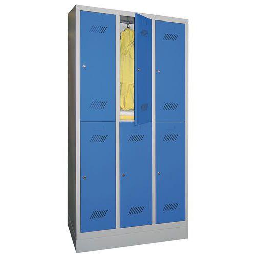 Spind Medium mit 6 Fächern und Kleiderabteil - 3 Säulen, Breite 300mm - auf Sockel
