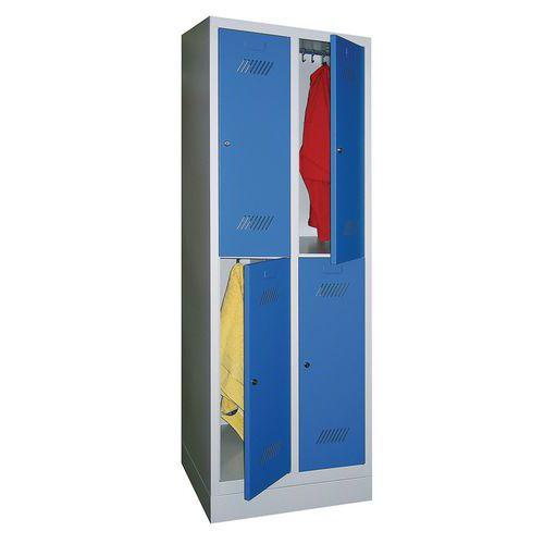Spind Medium mit 4 Fächern und Kleiderabteil - 2 Säulen, Breite 300mm - auf Sockel