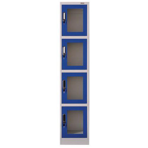 Spind mit transparenten Türen, 4Fächer- Manutan