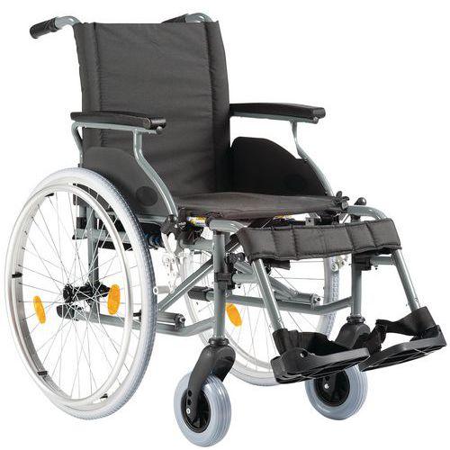 Rollstuhl, feste Rückenlehne, Schwarz- Aluminium-Gestell