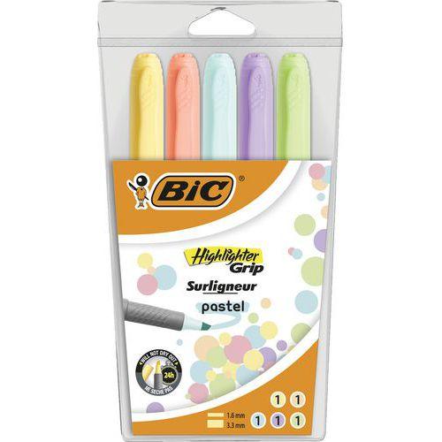 Textmarker Highlighter Grip- Pastell- Etui mit 5verschiedenen Farben- BIC